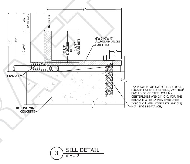 Shop drawing storefront detail example