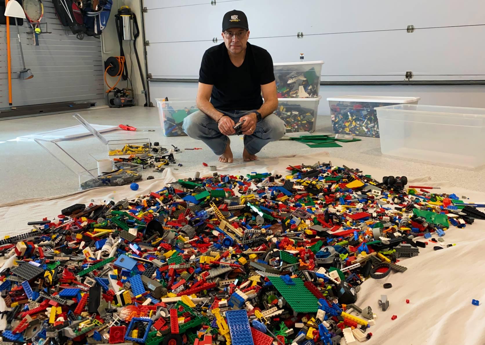 Frank sorting through Legos