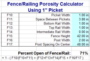 Engineering Express 1 inch picket porosity calculation