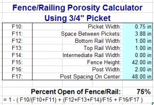 Engineering Express three quarter inch picket porosity calculation